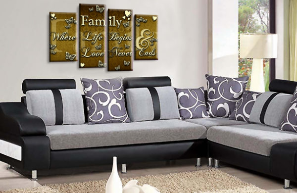 Family Quote Gold Brown and Cream Canvas Wall Art Picture